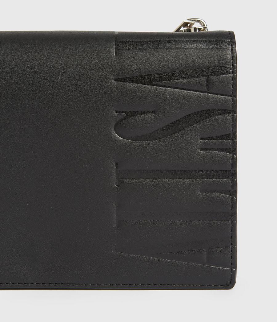 Women's Roman Chain Leather Wallet Crossbody Bag (black) - Image 6