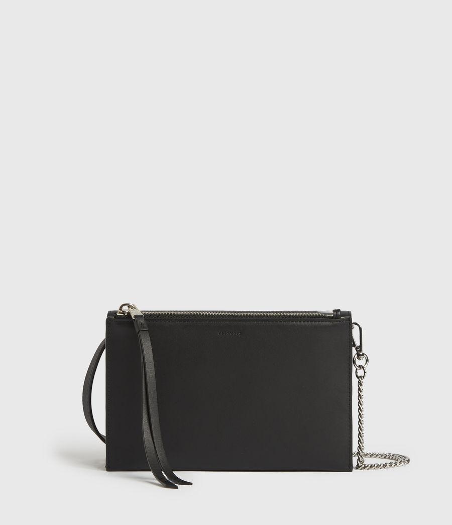 Women's Roman Chain Leather Wallet Crossbody Bag (black) - Image 7