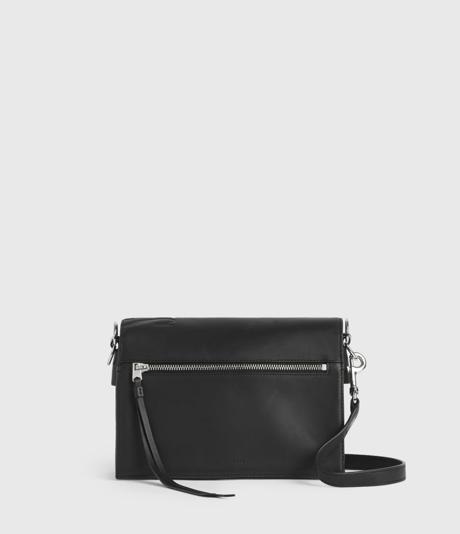 Womens Albion Leather Shoulder Bag (black) - Image 4