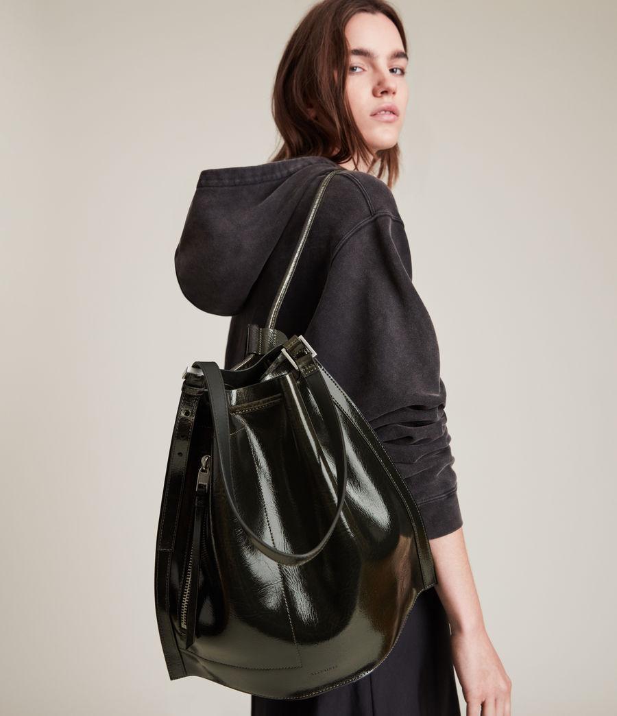 Womens Alpha Leather Backpack (liquid_khaki) - Image 9