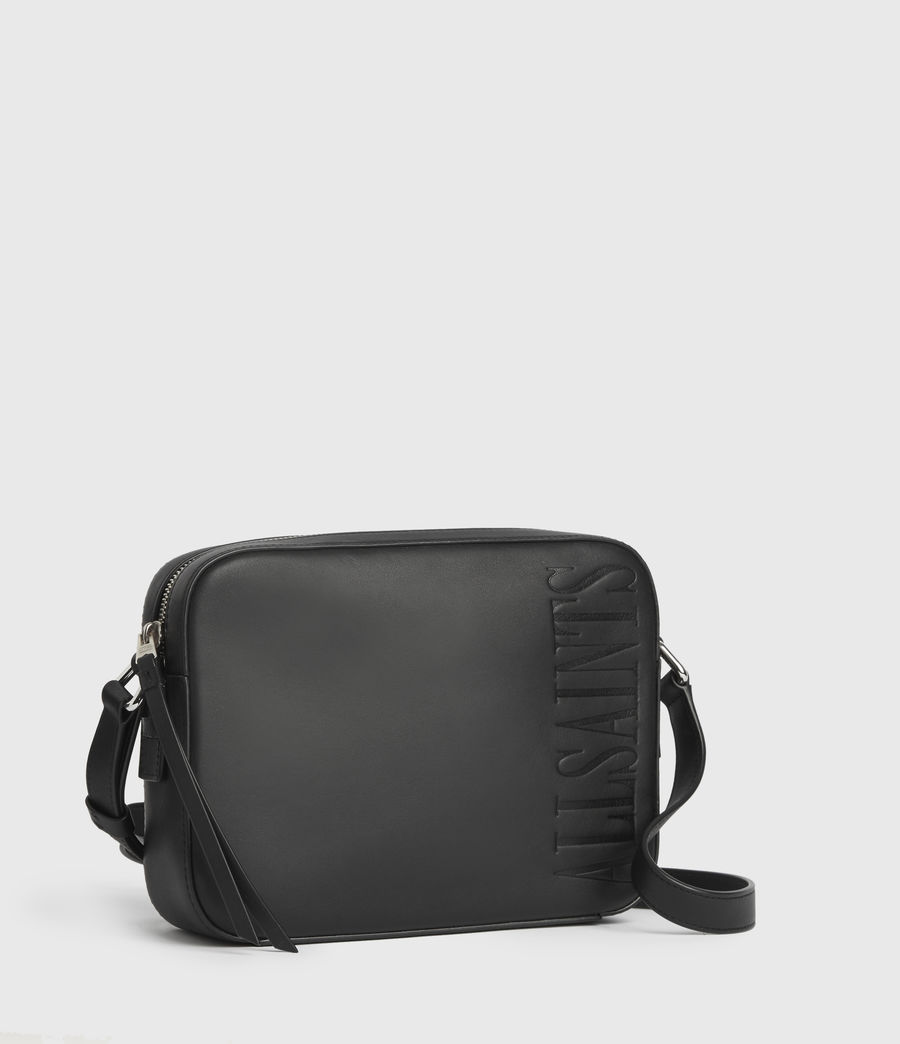 Womens Rhoda Square Leather Crossbody Bag (black) - Image 3