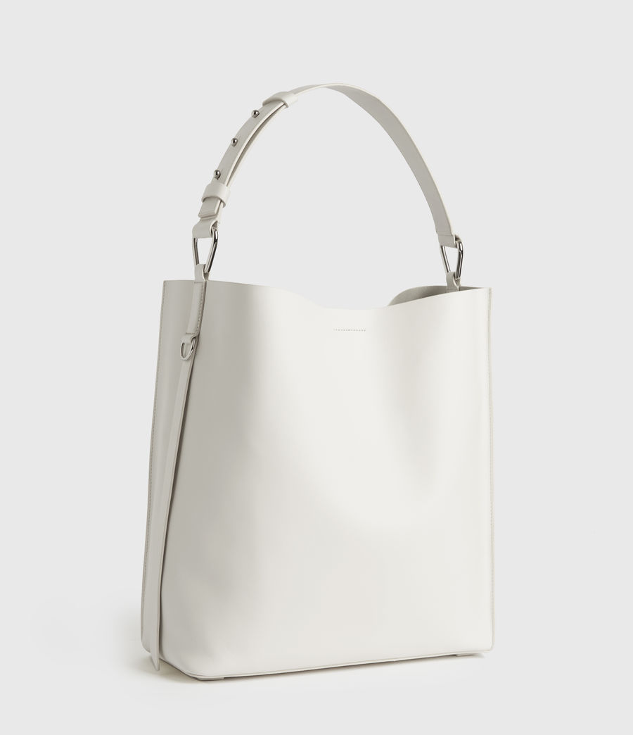 Womens Celadine North South Leather Tote Bag (chalk_white) - Image 3