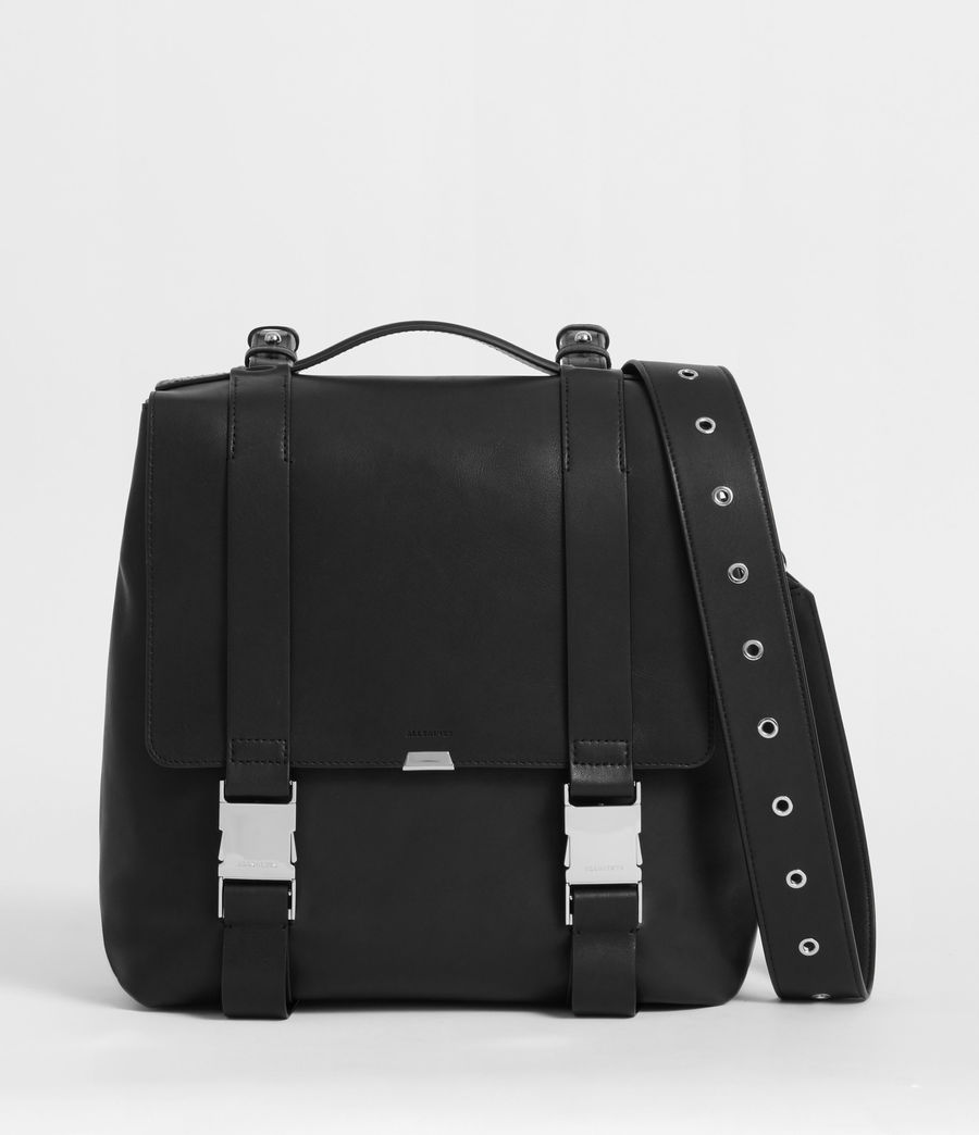 Womens Clip Leather Backpack (black) - Image 1
