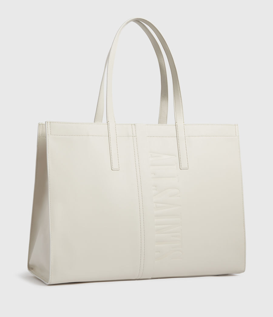 Women's Rochelle East West Leather Tote Bag (chalk_white) - Image 3