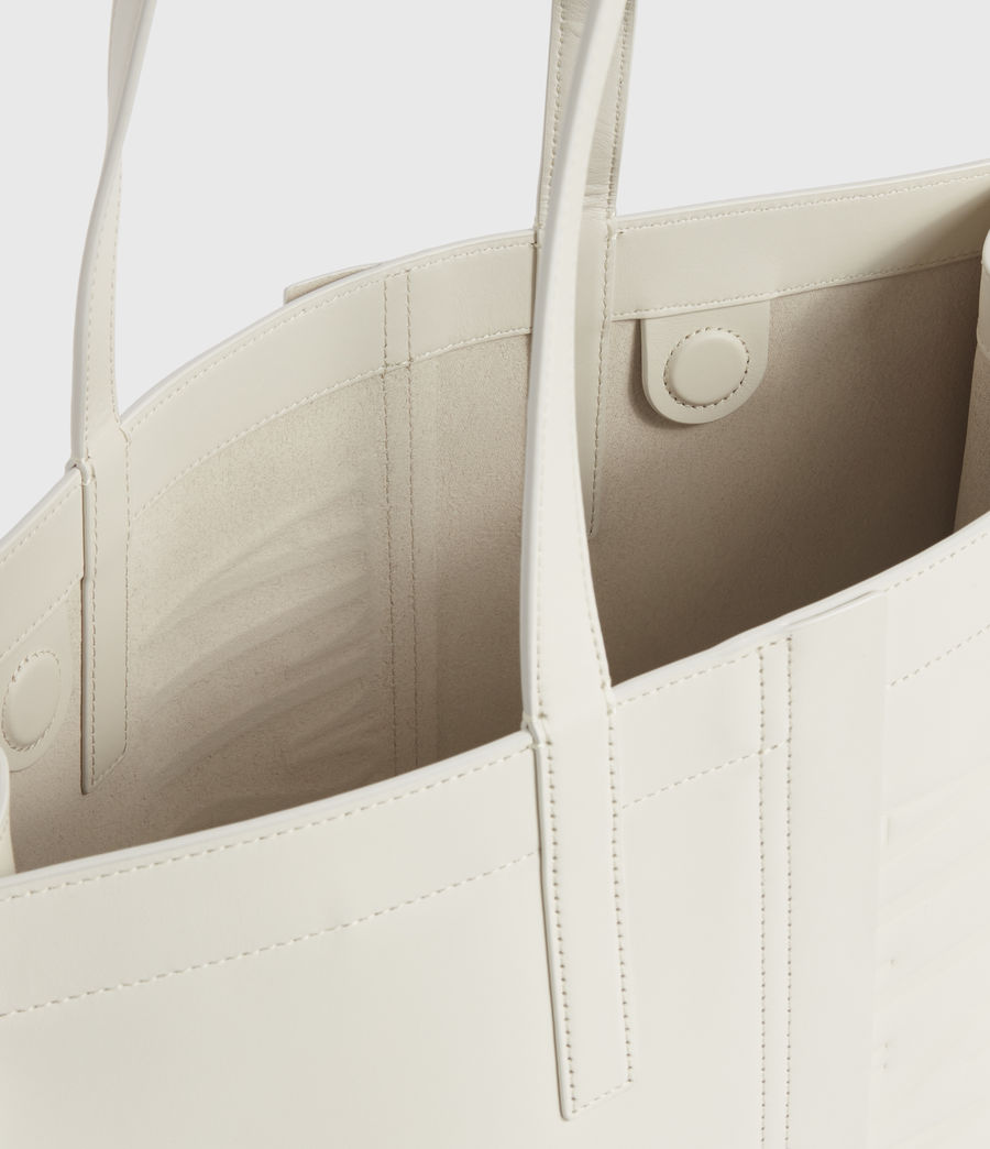 Women's Rochelle East West Leather Tote Bag (chalk_white) - Image 4