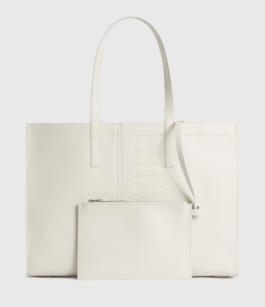 Mujer Rochelle East West Leather Tote Bag (grey_mist) - Image 5