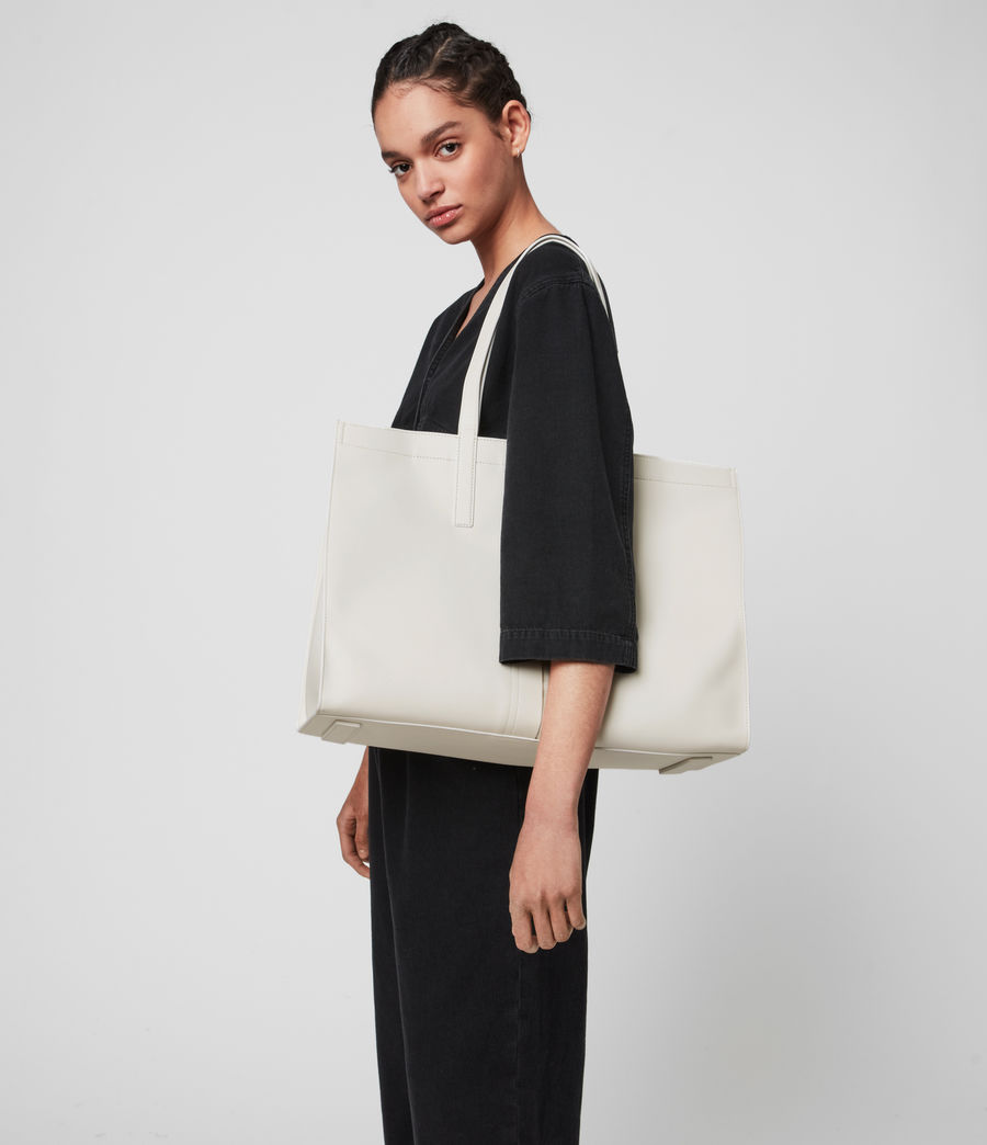 Mujer Rochelle East West Leather Tote Bag (grey_mist) - Image 7
