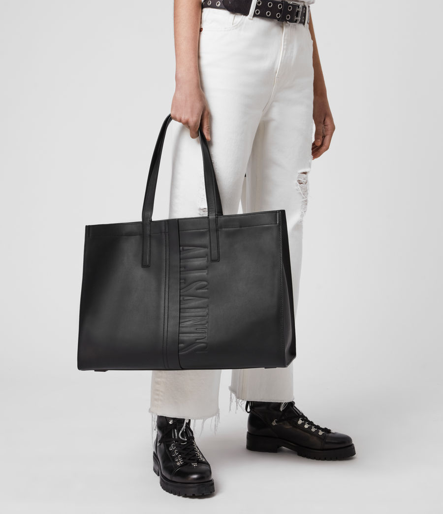 Mujer Rochelle East West Leather Tote Bag (black) - Image 2