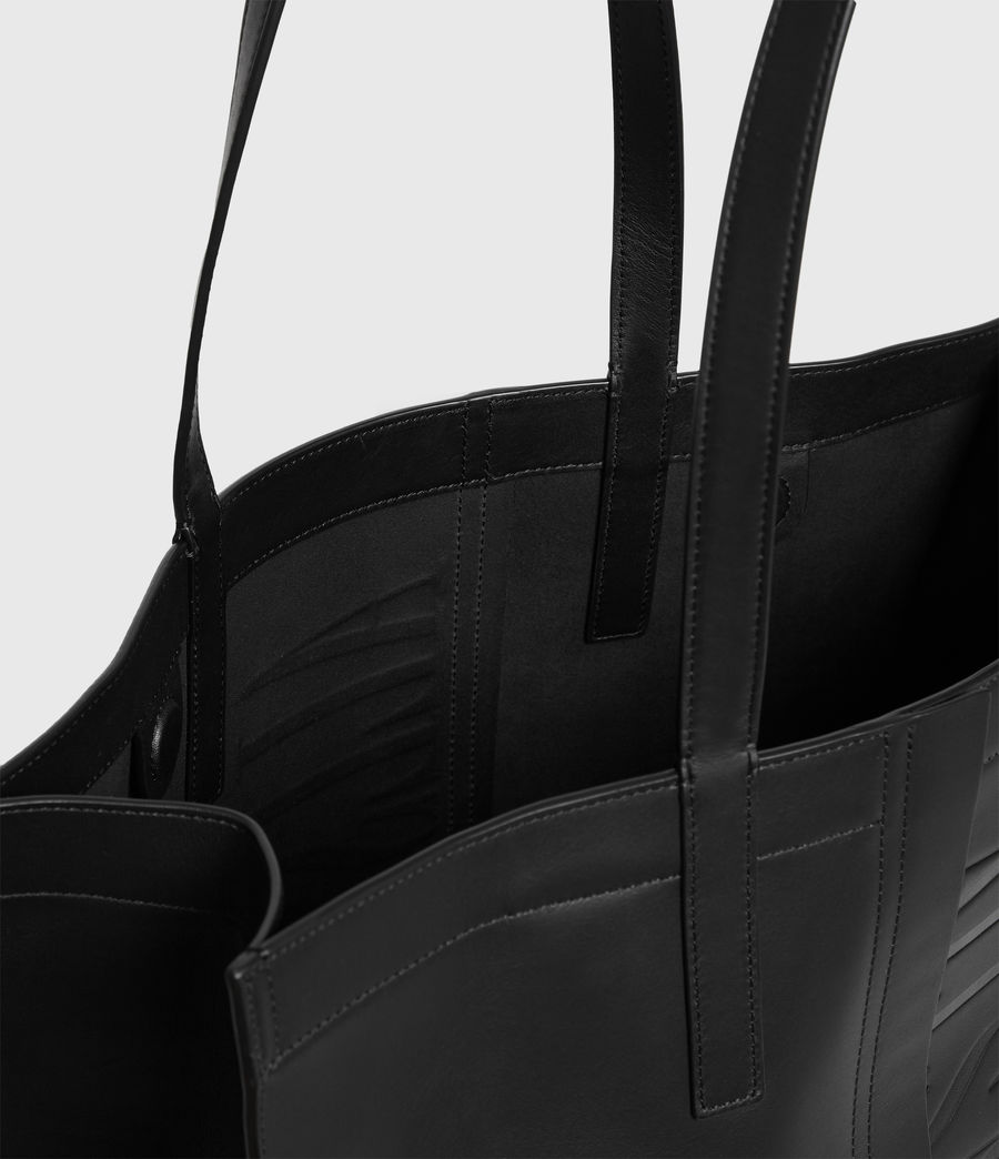 Mujer Rochelle East West Leather Tote Bag (black) - Image 5