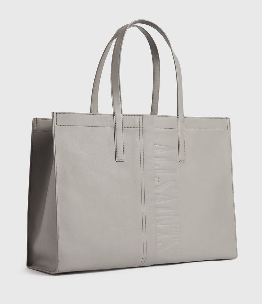 Mujer Rochelle East West Leather Tote Bag (grey_mist) - Image 3
