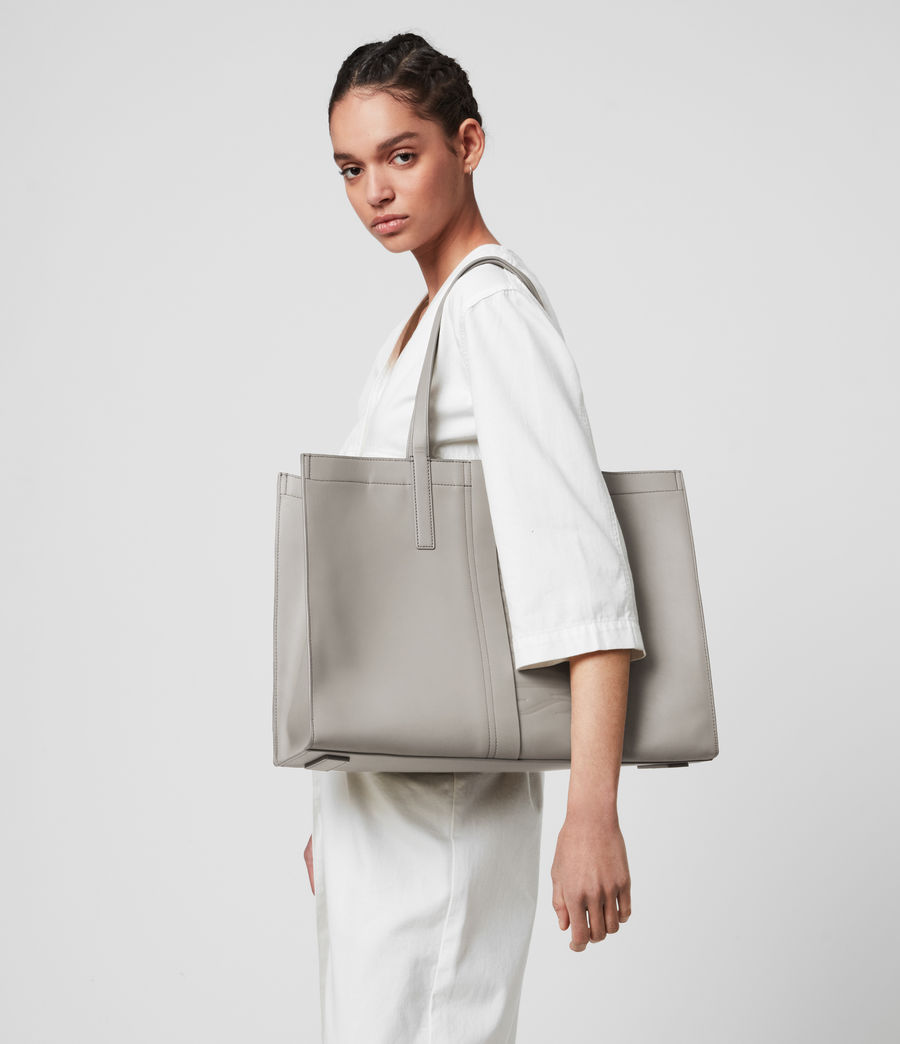 Womens Rochelle East West Leather Tote Bag (grey_mist) - Image 5