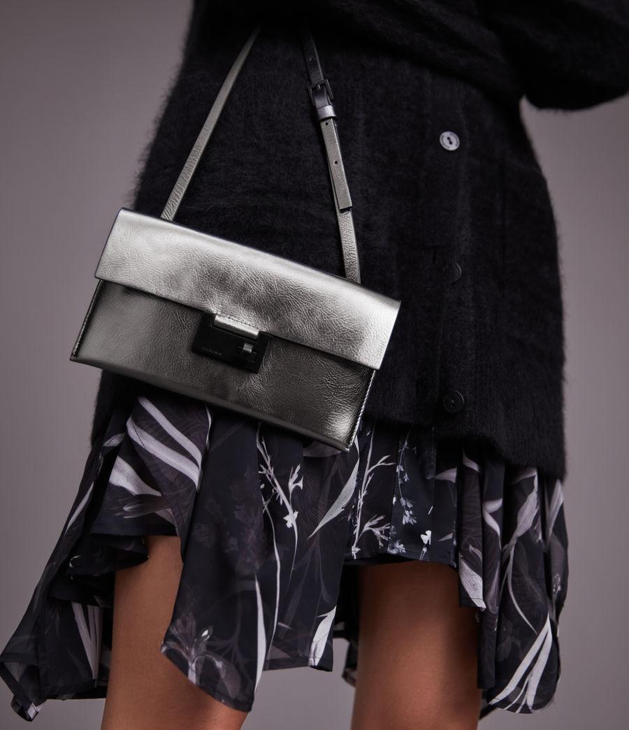 Womens Francoise Leather Crossbody Bag (gunmetal) - Image 1