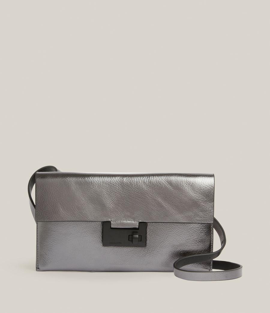 Womens Francoise Leather Crossbody Bag (gunmetal) - Image 2