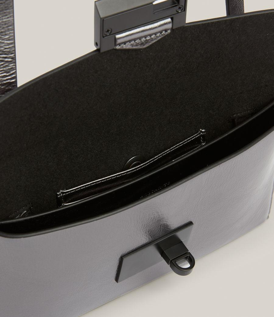 Womens Francoise Leather Crossbody Bag (gunmetal) - Image 3