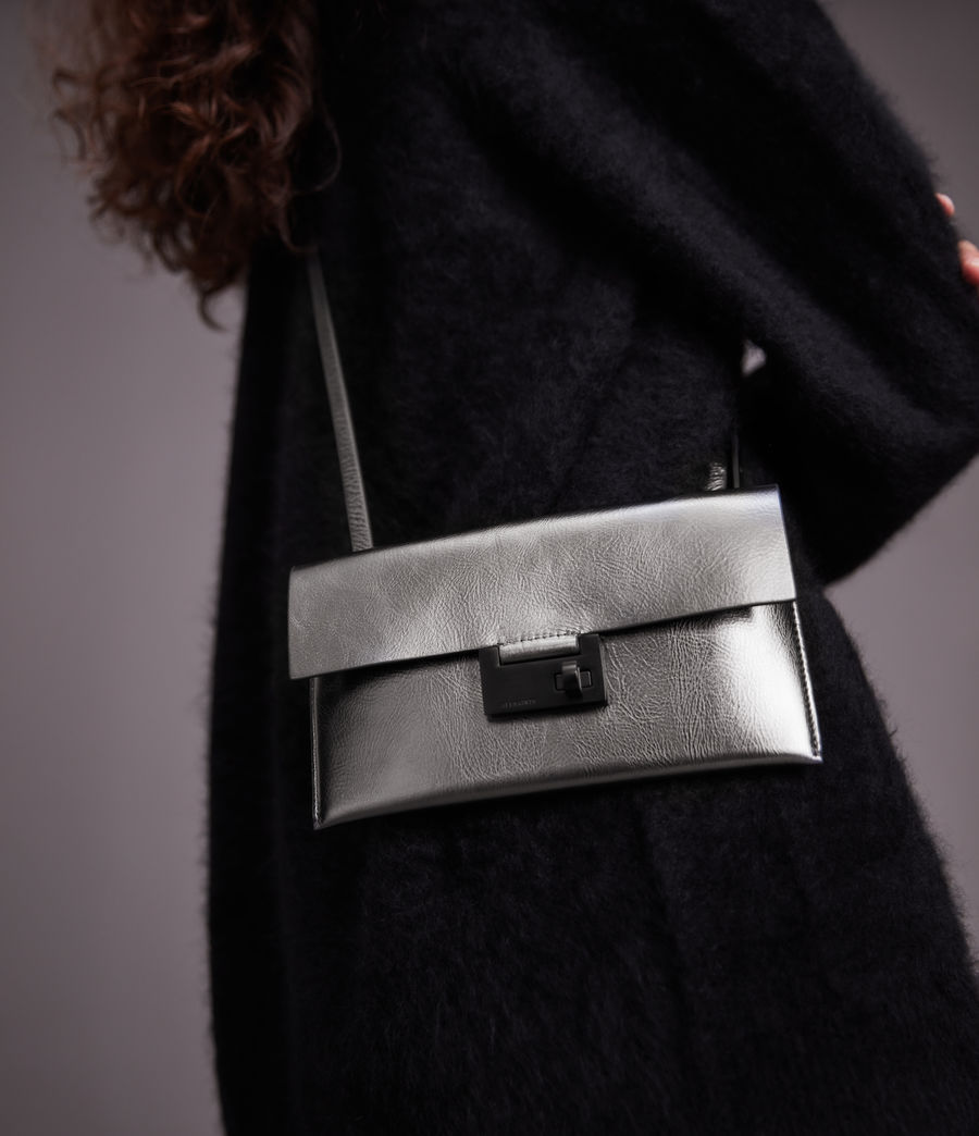 Womens Francoise Leather Crossbody Bag (gunmetal) - Image 4
