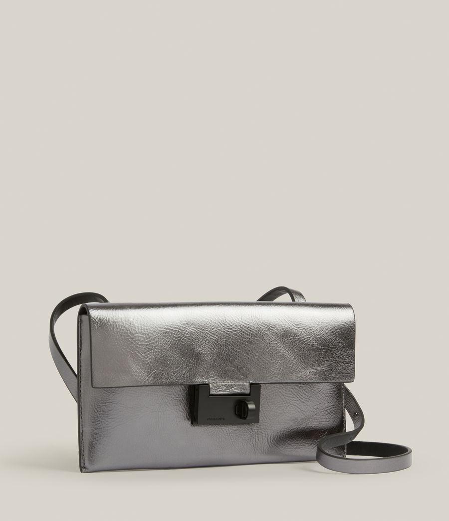 Womens Francoise Leather Crossbody Bag (gunmetal) - Image 5