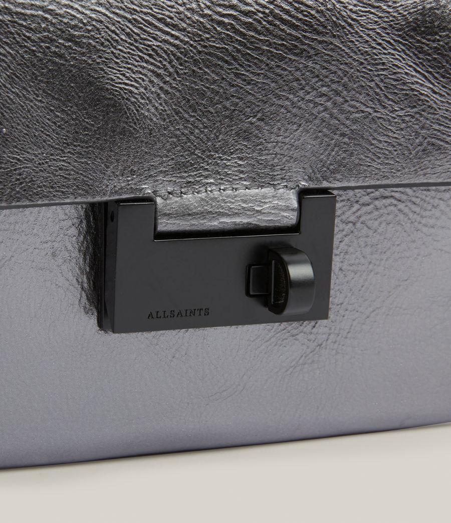Womens Francoise Leather Crossbody Bag (gunmetal) - Image 6