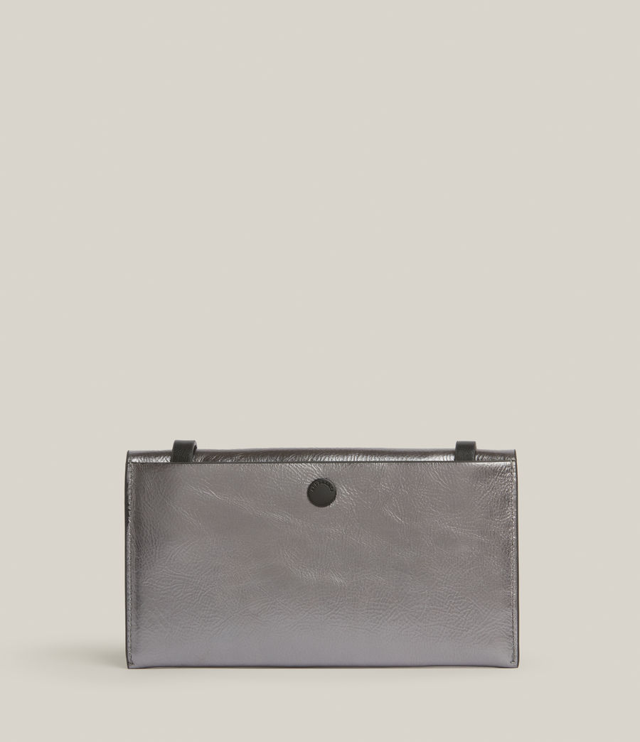 Womens Francoise Leather Crossbody Bag (gunmetal) - Image 8