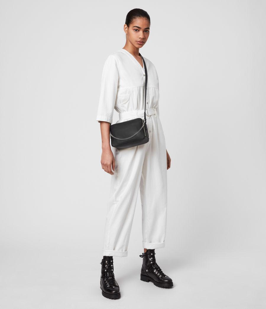 Womens Rosemary Square Leather Crossbody Bag (black) - Image 2