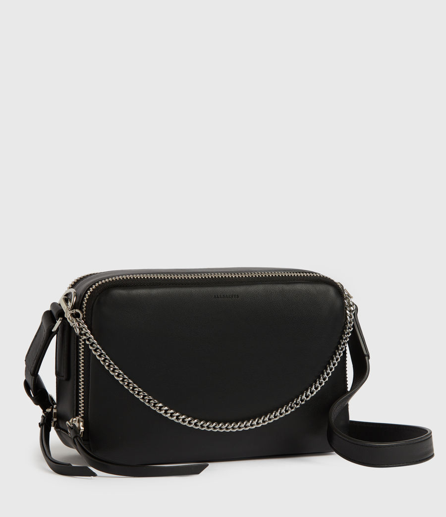 Womens Rosemary Square Leather Crossbody Bag (black) - Image 3