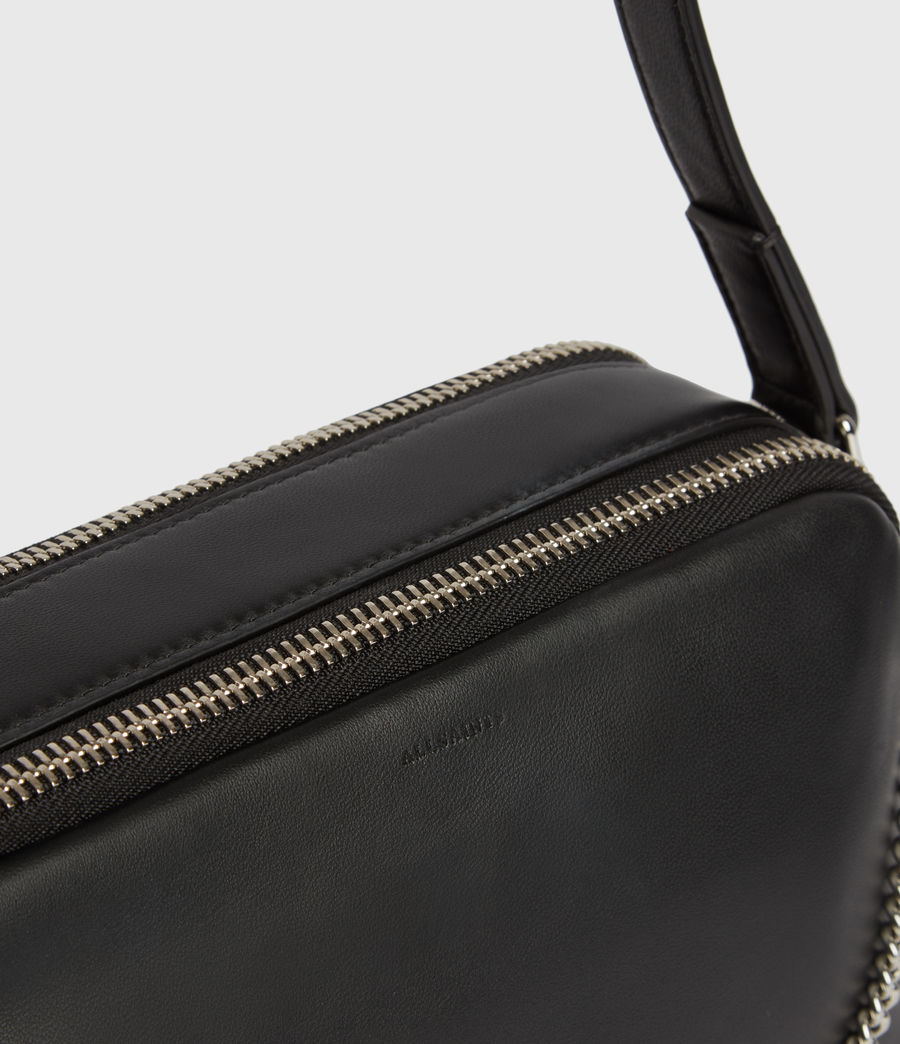 Mujer Rosemary Square Leather Crossbody Bag (black) - Image 5