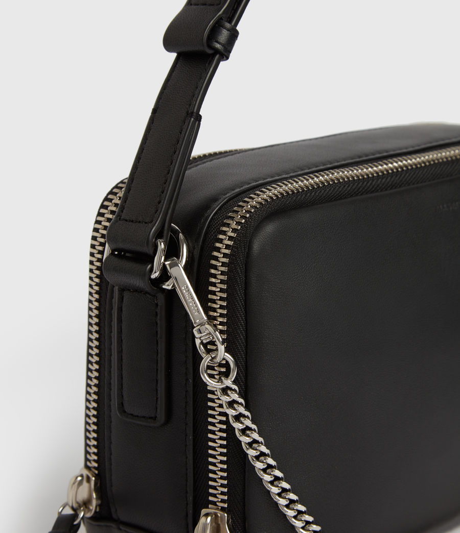 Womens Rosemary Square Leather Crossbody Bag (black) - Image 6