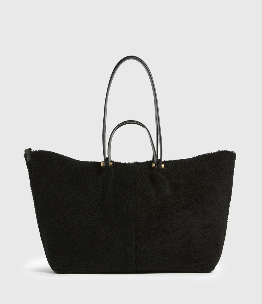 Womens Allington Shearling Tote Bag (black) - Image 2
