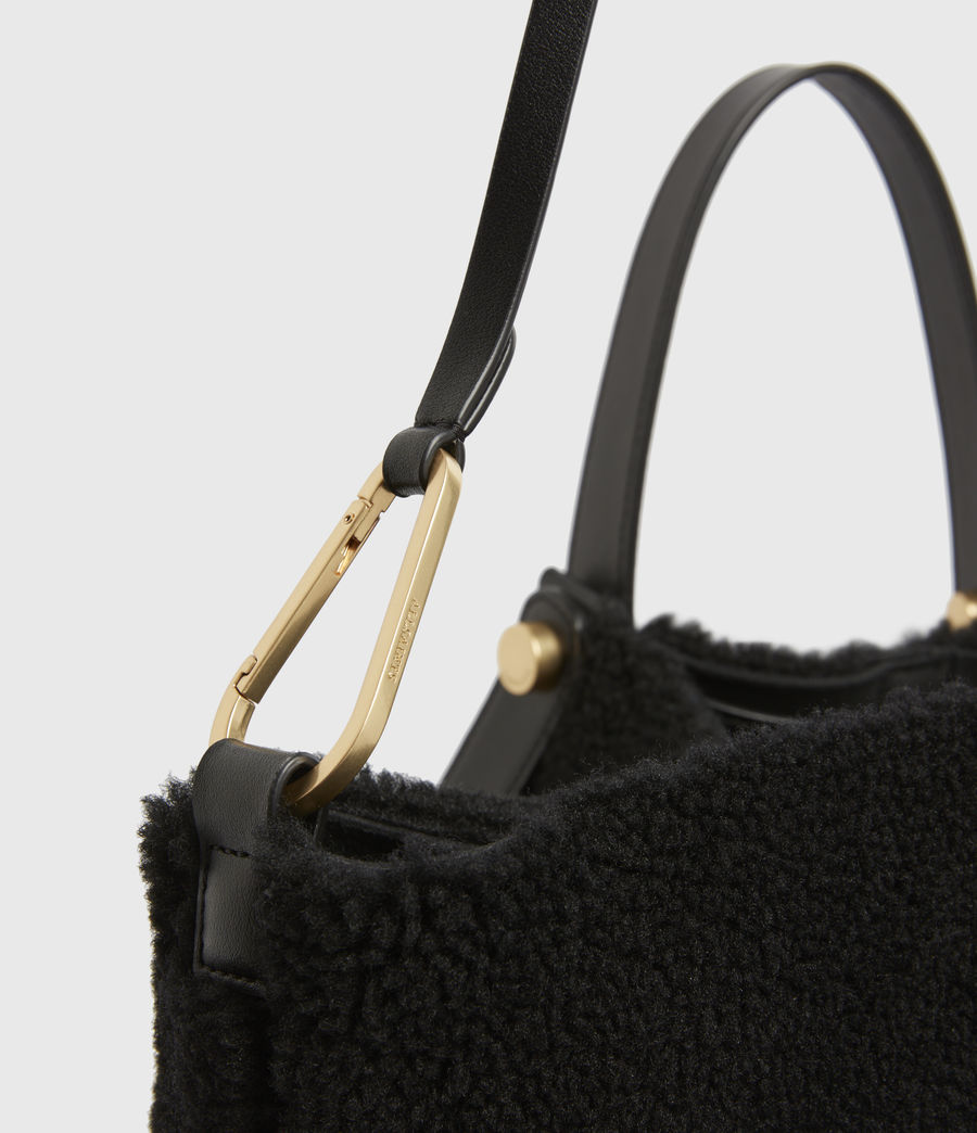 Womens Allington Shearling Tote Bag (black) - Image 6