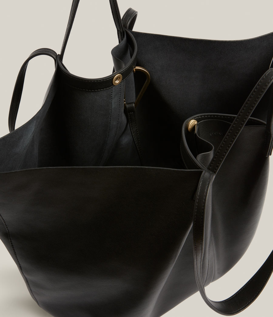 Women's Nadaline Leather East West Tote Bag (black) - Image 3