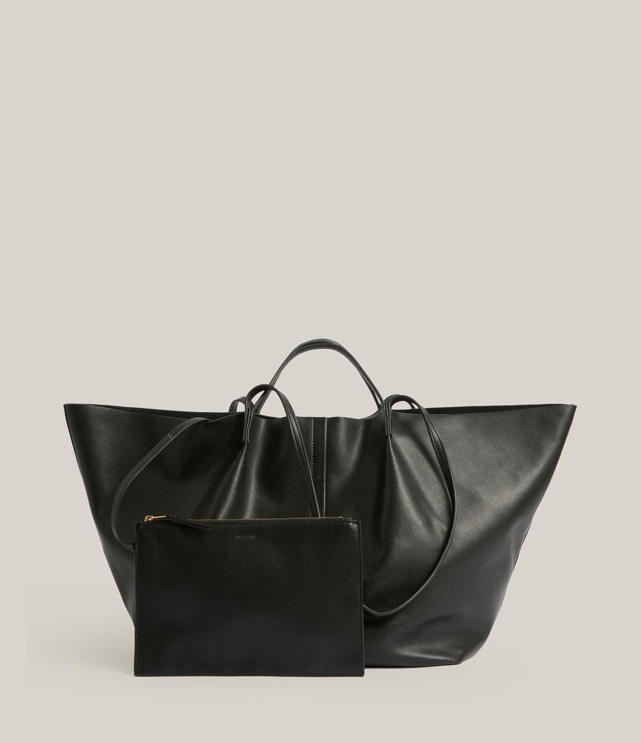 Women's Nadaline Leather East West Tote Bag (black) - Image 8