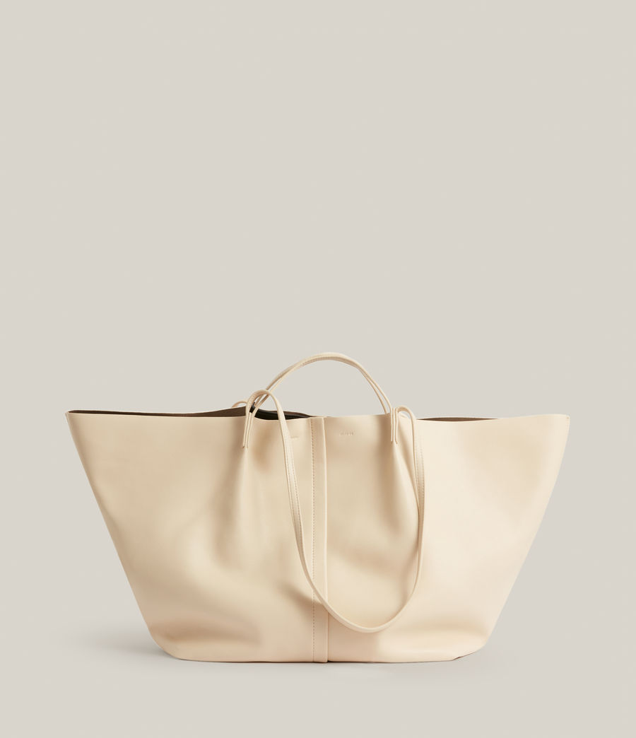 Womens Nadaline Leather East West Tote Bag (parchment_white) - Image 2