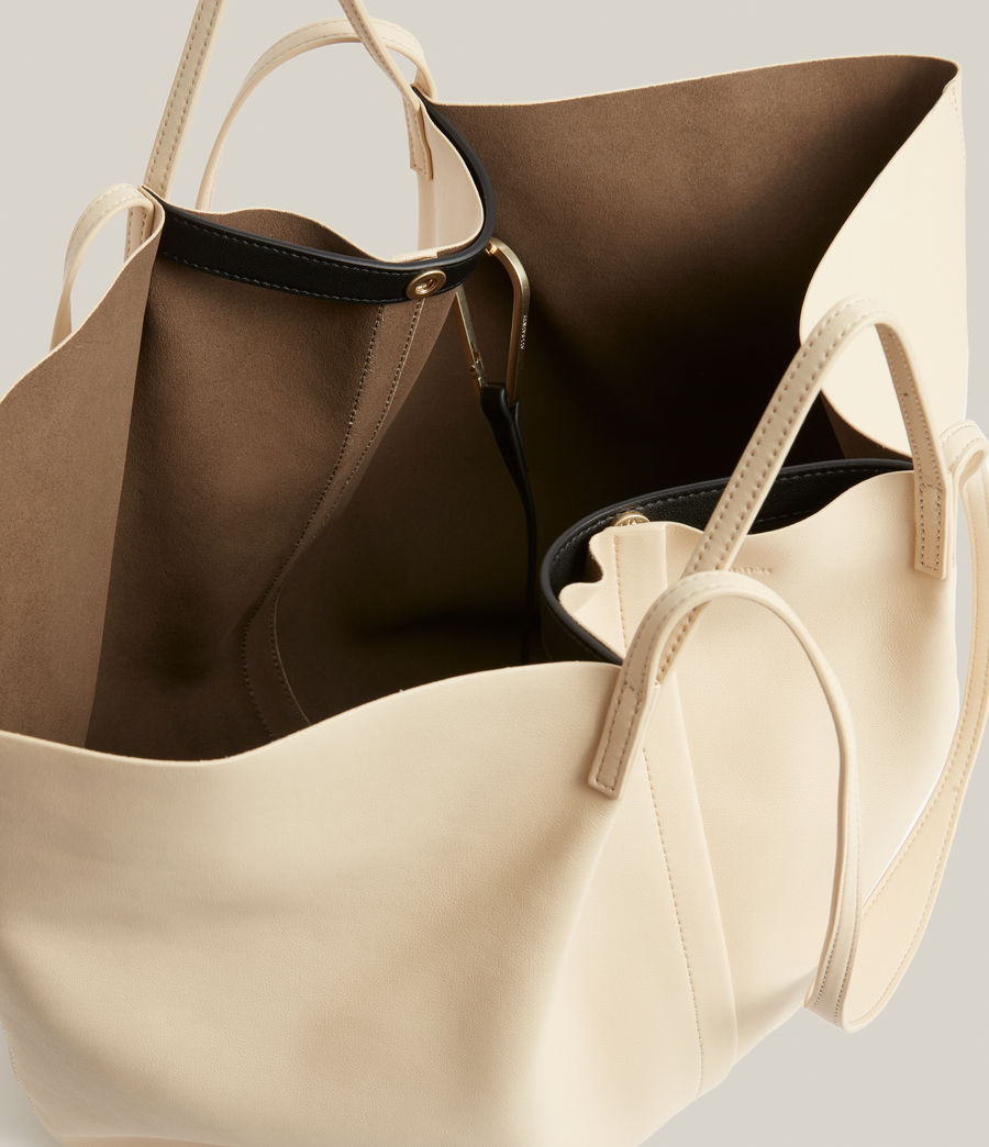 Womens Nadaline Leather East West Tote Bag (parchment_white) - Image 3