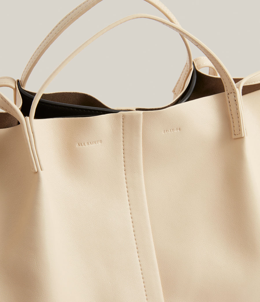 Womens Nadaline Leather East West Tote Bag (parchment_white) - Image 5