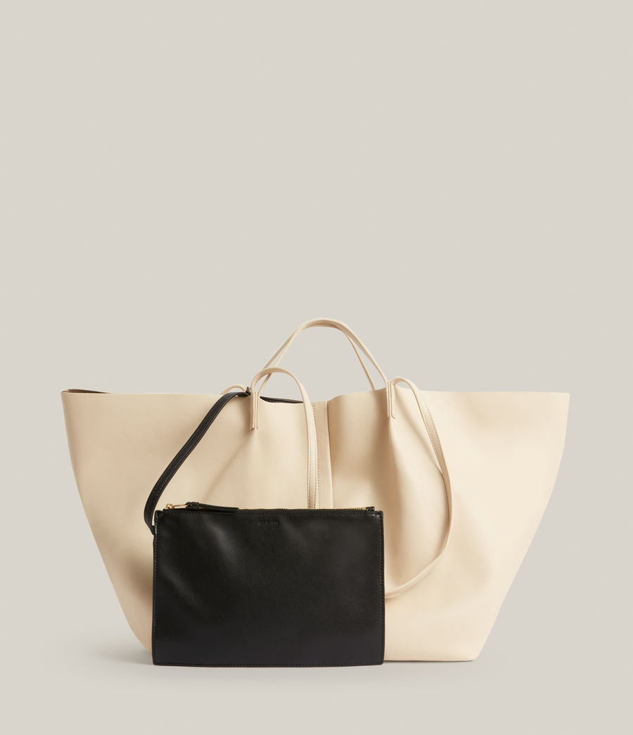 Womens Nadaline Leather East West Tote Bag (parchment_white) - Image 7