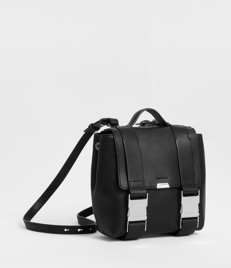 Women's Clip Leather Mini Backpack (black) - Image 2
