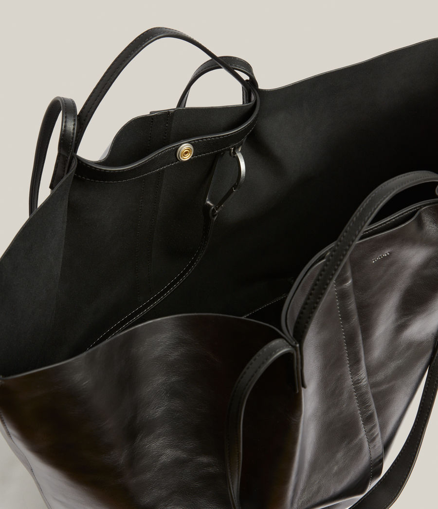 Women's Nadaline Leather East West Tote Bag (gunmetal) - Image 3