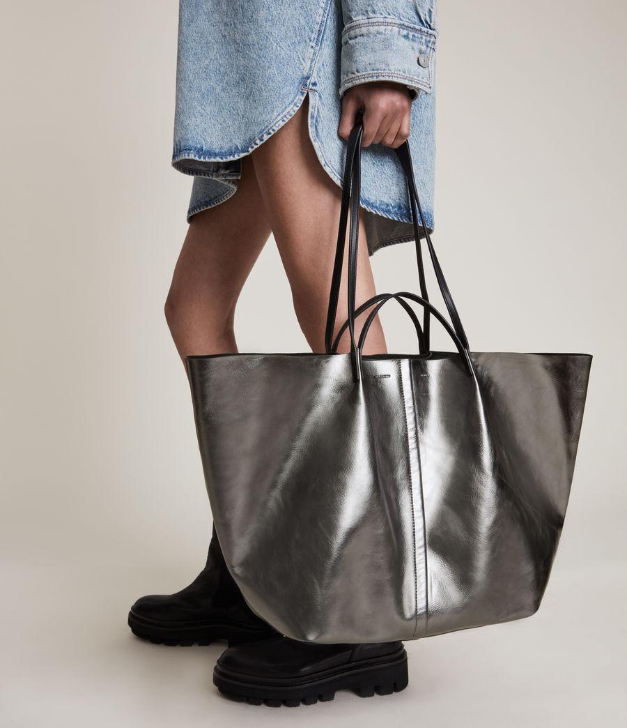 Women's Nadaline Leather East West Tote Bag (gunmetal) - Image 4