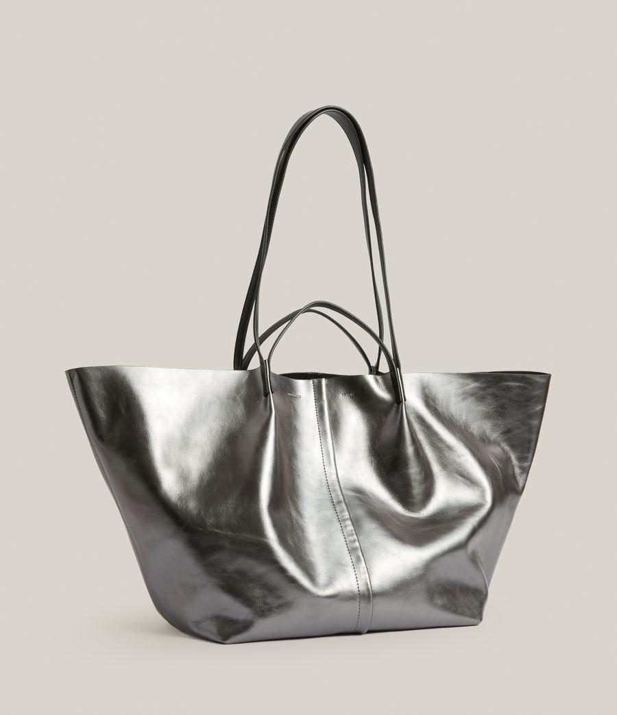 Women's Nadaline Leather East West Tote Bag (gunmetal) - Image 5