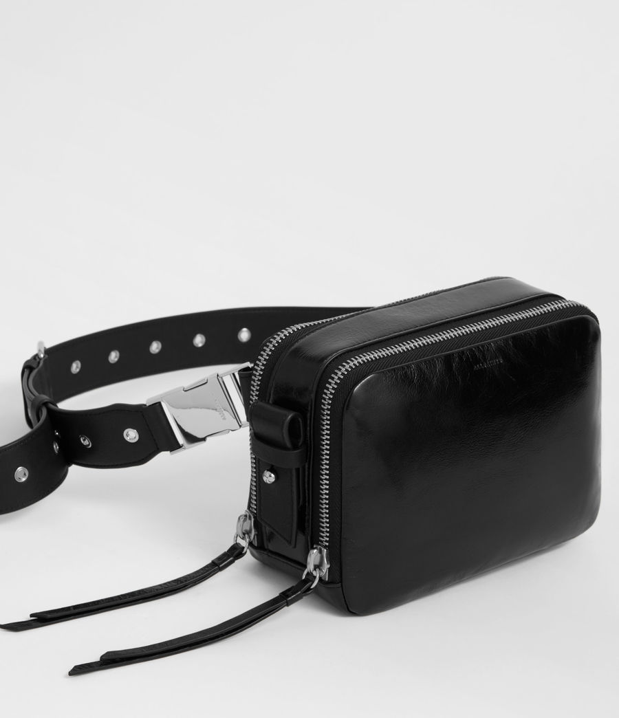 Womens Clip Shiny Leather Fanny Pack Crossbody Bag (black) - Image 2