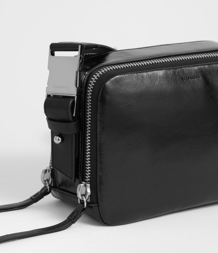 Womens Clip Shiny Leather Fanny Pack Crossbody Bag (black) - Image 4