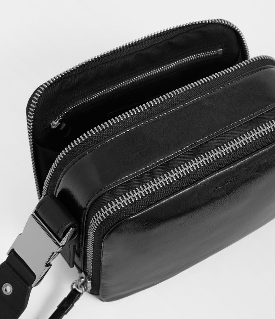 Womens Clip Shiny Leather Fanny Pack Crossbody Bag (black) - Image 5