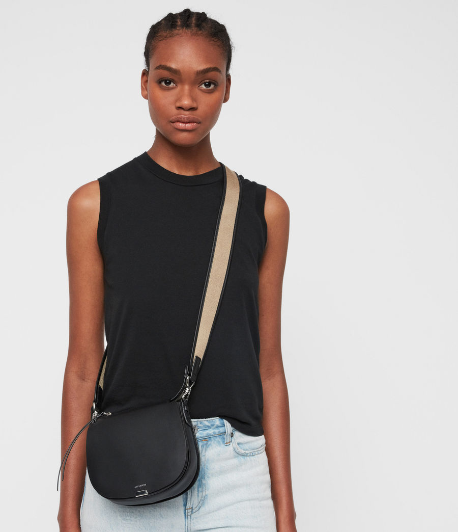 Women's Darcy Small Round Leather Crossbody Bag (black) - Image 2
