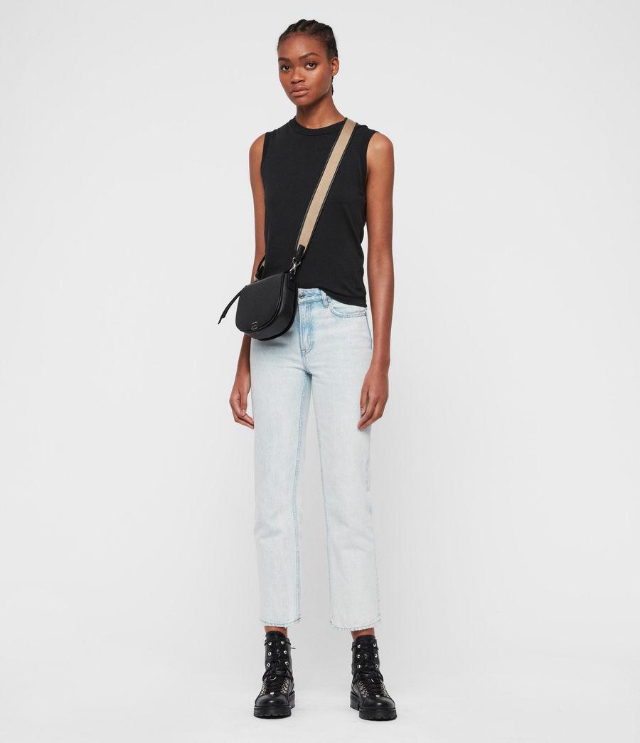 Women's Darcy Small Round Leather Crossbody Bag (black) - Image 7