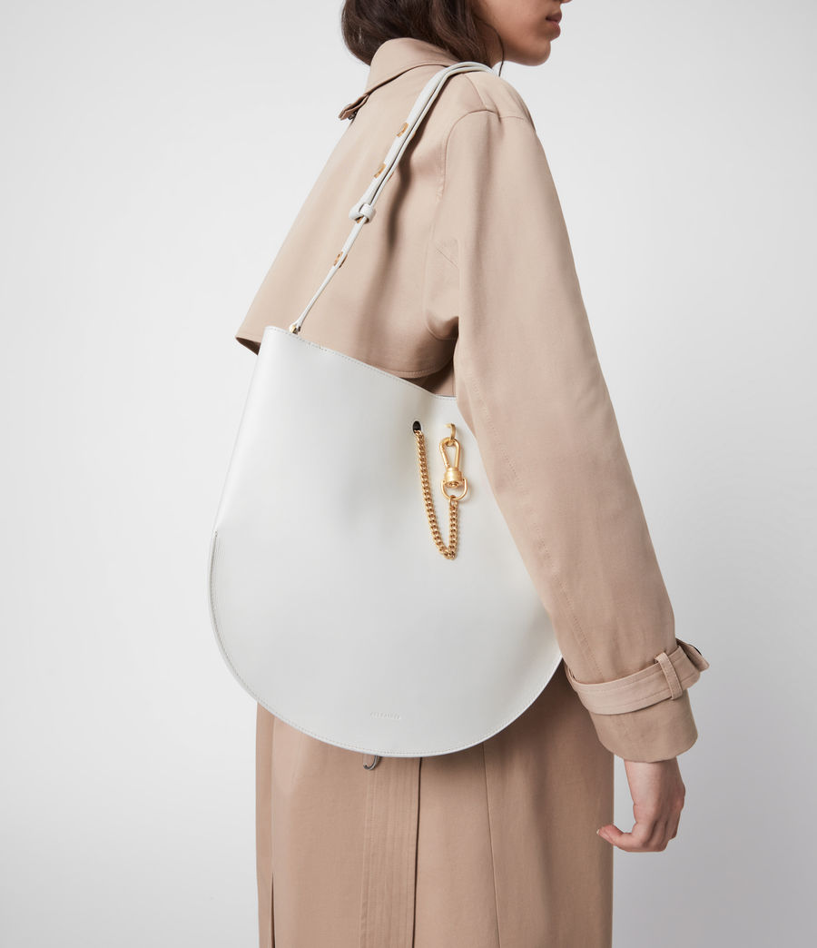 Womens Beaumont Leather Hobo Bag (roe_white) - Image 4
