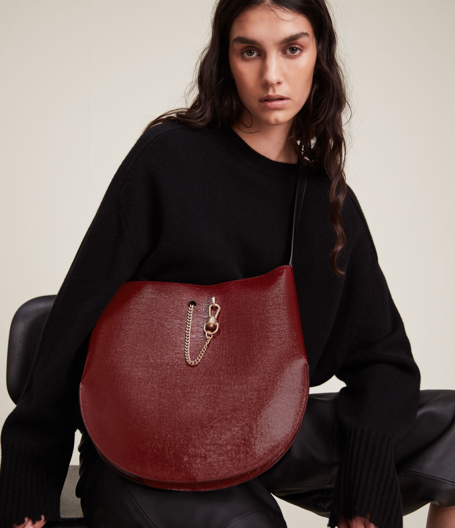 Womens Beaumont Leather Hobo Bag (liquid_rouge) - Image 1