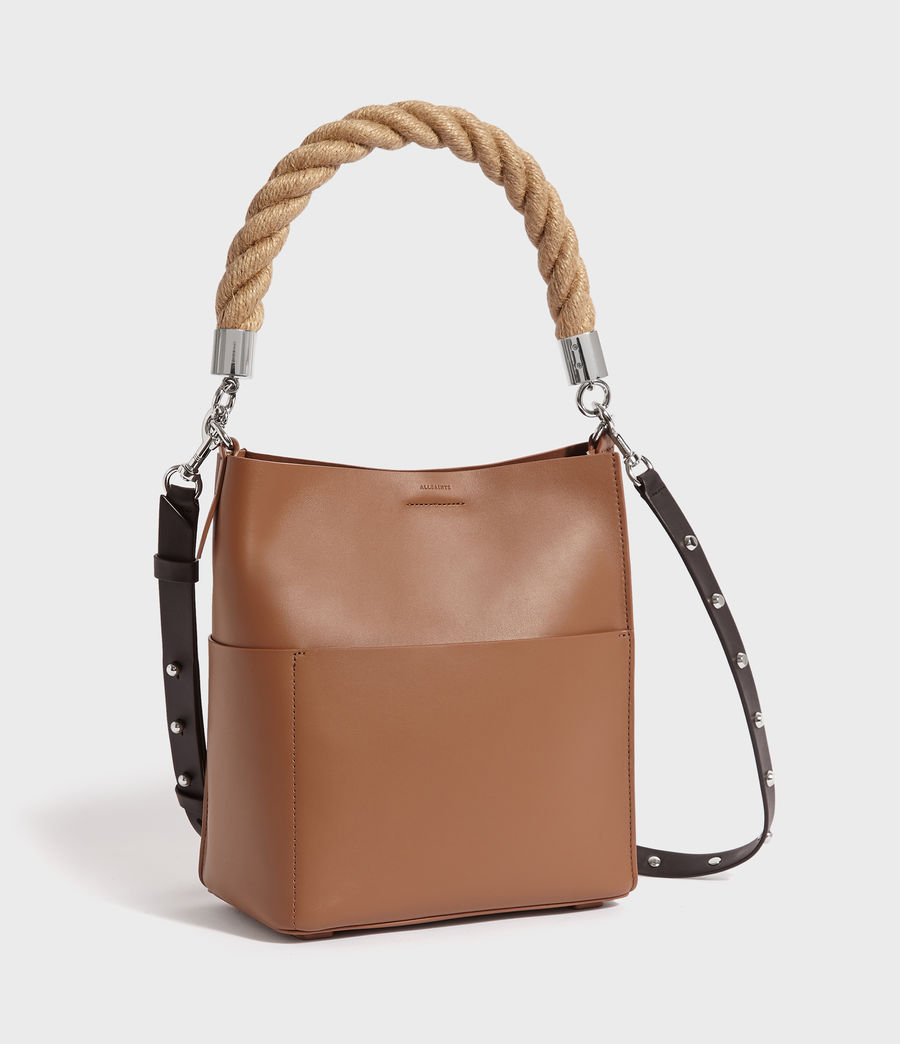 Womens Harri Leather Small North South Tote Bag (chocolate_brown) - Image 3