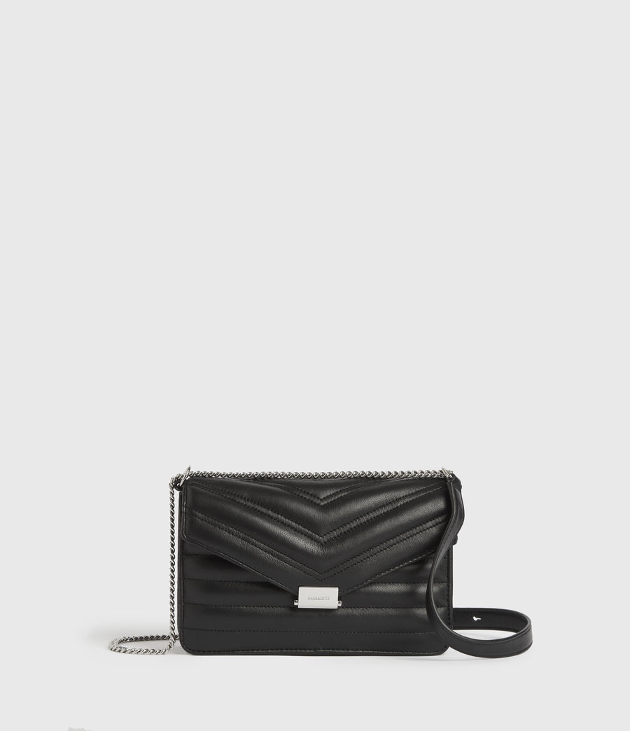 Womens Justine Small Leather Flap Crossbody Bag (black) - Image 1