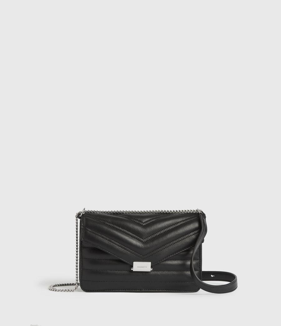 Women's Justine Small Leather Flap Crossbody Bag (black) - Image 1