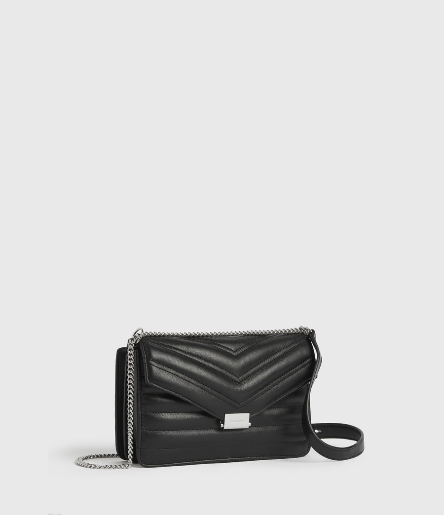 Womens Justine Small Leather Flap Crossbody Bag (black) - Image 2