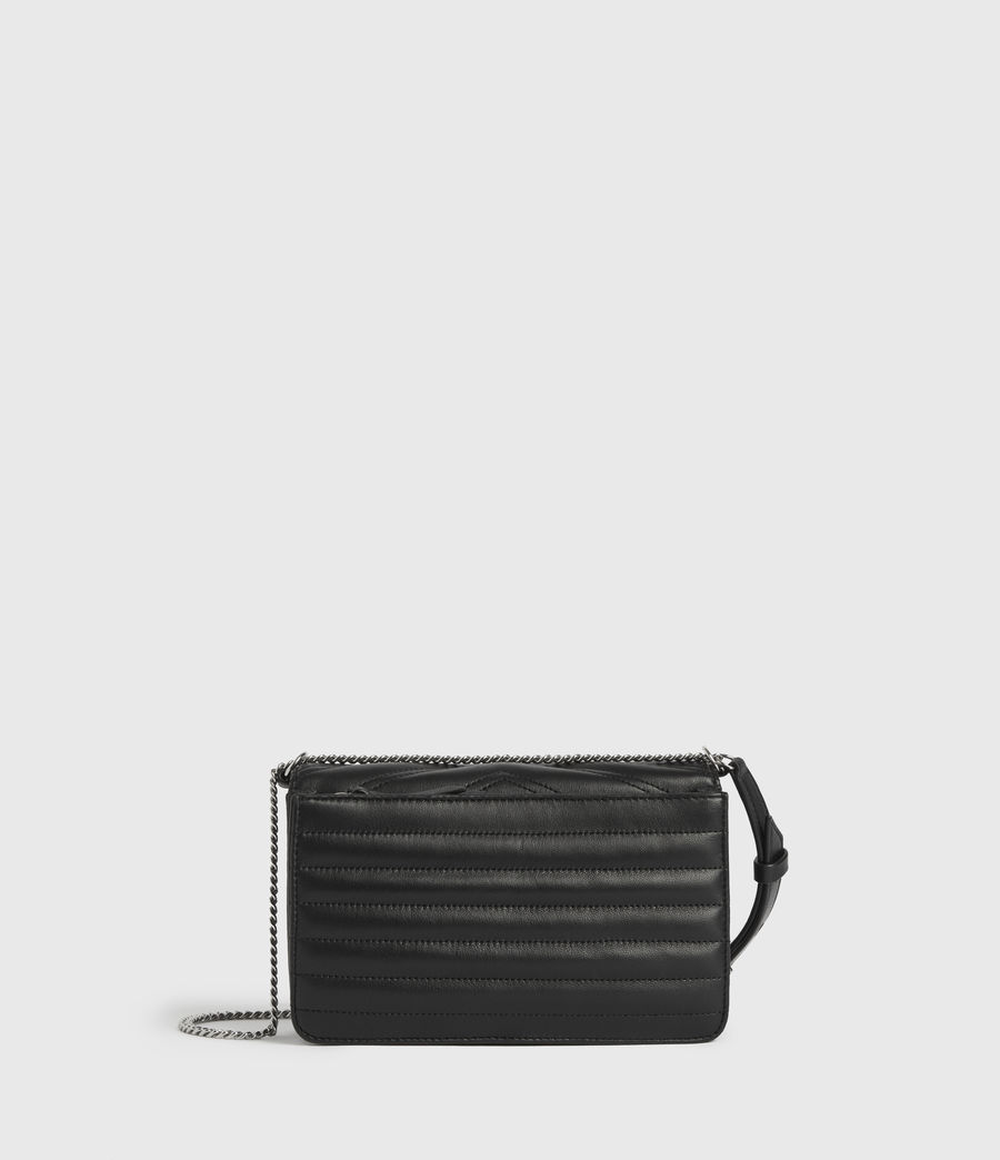 Womens Justine Small Leather Flap Crossbody Bag (black) - Image 6